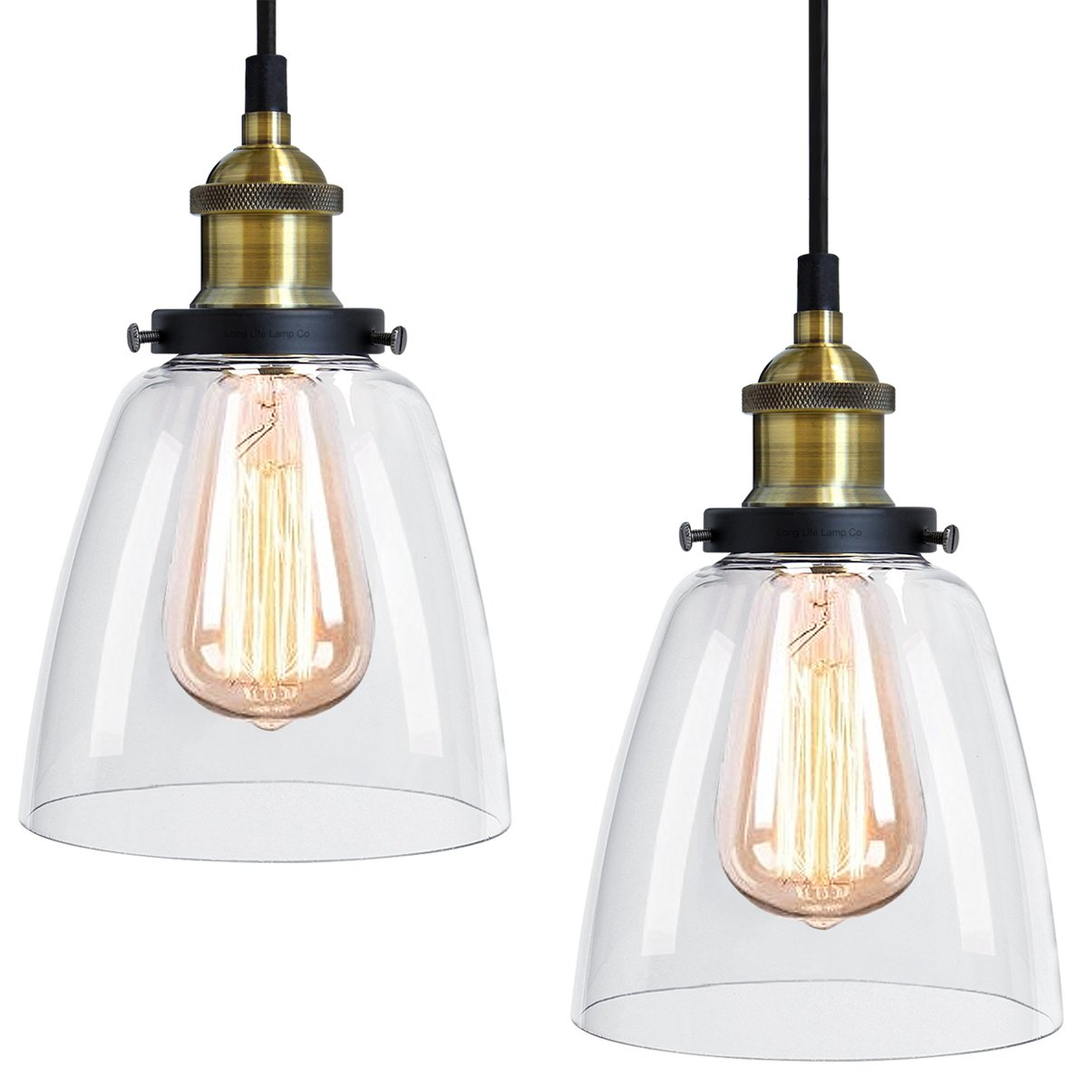2 x Modern Vintage Victorian Bronze Metal Ceiling Pendant Glass Lamp Shade Chandelier BF-4 Long Life Lamp Company