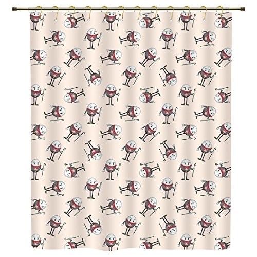 Humpty Dumpty Rug - iPrint Shower Curtain,Alice in Wonderland,Humpty Dumpty Egg Dancing Character Fairy Alice Fantasy Decor,Pink Brown Red,Polyester Shower Curtains Bathroom Decor Sets with Hooks