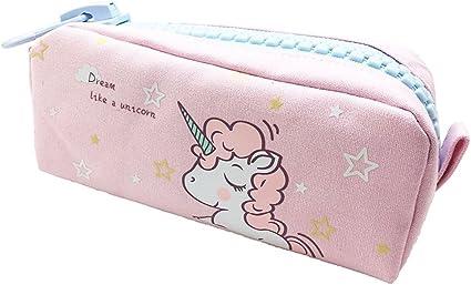 Shager 1pcs Chicas Chicos Niños Estuches, Diseño de Unicornio Animal Bolsa de Lienzo Lápiz Cosmética en Tejido con Cremallera Caja Case Pochette Escolar Gran capacidad 21.5 * 10.5CM (Rosa): Amazon.es: Oficina y