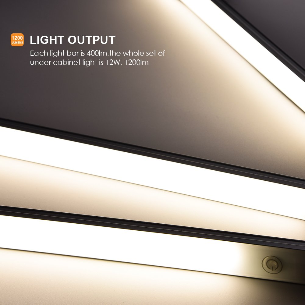 Youthink Led Under Cabinet Touch Control Dimmable Counter Wiring Strip Light On Ends Free Download Diagrams Strips For Kitchen Closet Shelf 3pc Bars Kit 12w 1200 Lumen 4000k Nature White