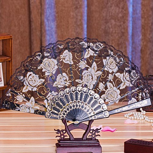 Mikey Store 1PC Multi-color Dance Party Wedding Lace Flower Folding Hand Held Flower Fan (Black)