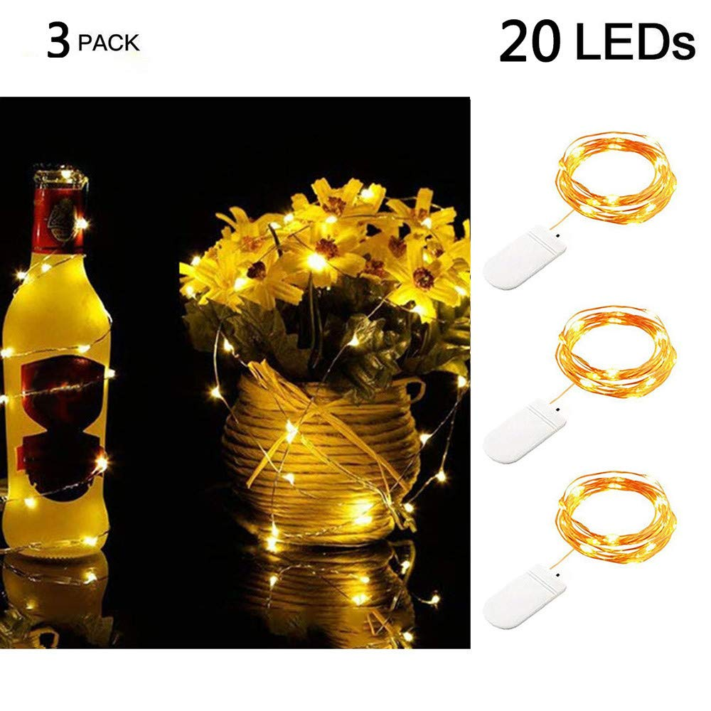 Nufelans 3pcs 2M 20LED Battery String Lights for Wedding Party Home Garden Bedroom Outdoor Indoor Wall Decorations (Warm White)
