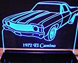 1972 El Camino Acrylic Lighted Edge Lit 12'' Reflective Black Mirror Base 15 LED Sign Light Up Plaque 72 VVD1 Made in the USA