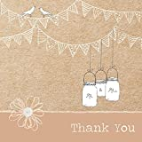 Wedding Thank You Cards - Vintage Bunting & Love Birds - Pack of 10