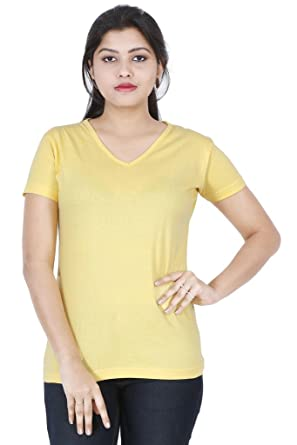 4df9d7dee6b FLEXIMAA Women's Cotton V Neck Plain T-Shirt Yellow Color: Amazon.in:  Clothing & Accessories