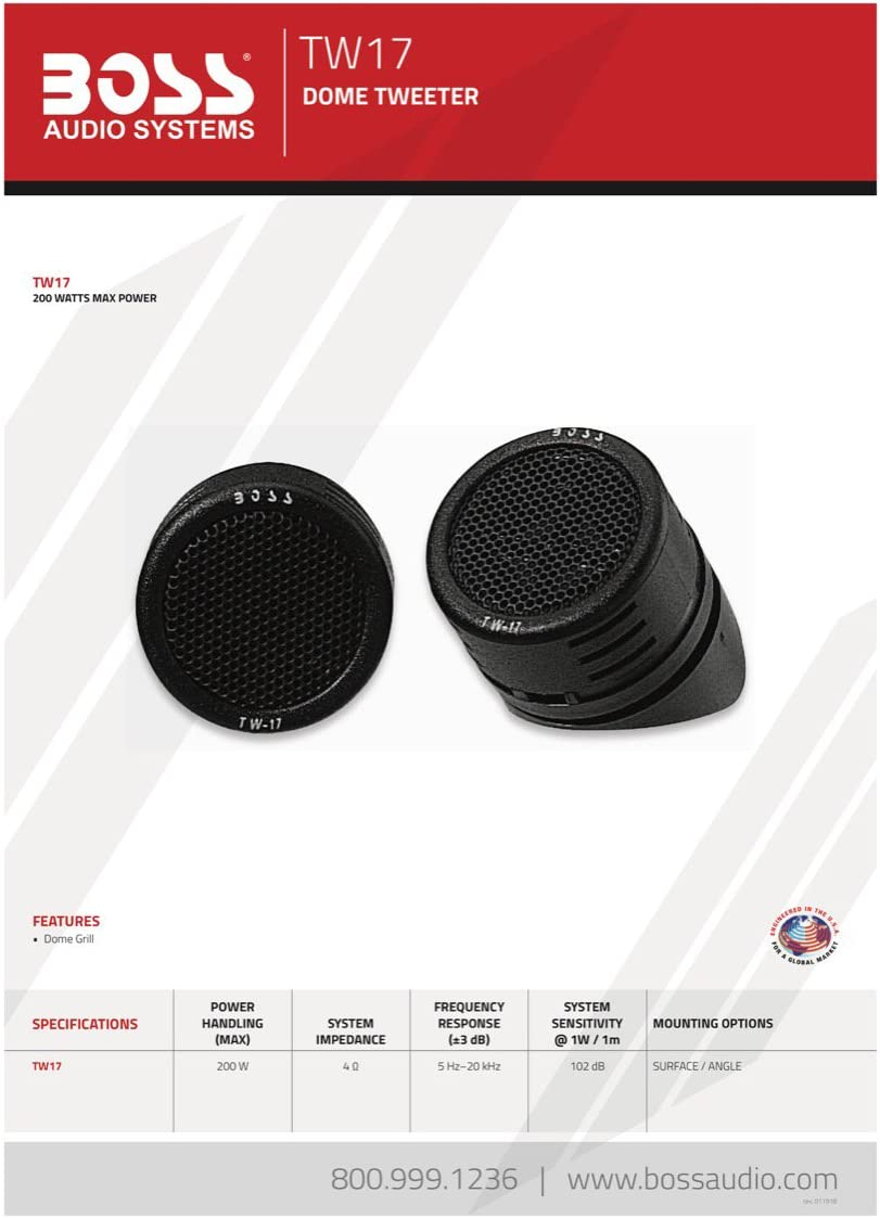 1 2 Inch Micro-Dome Car Tweeters Sold in Pairs BOSS Audio Systems TW18-200 Watt Per Pair