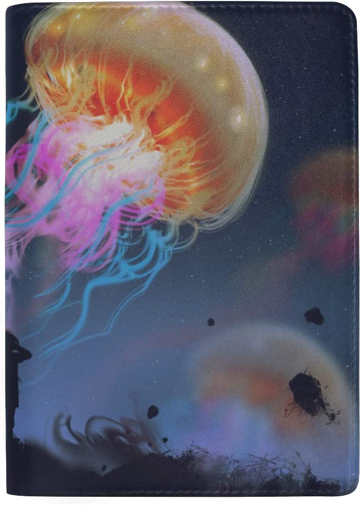 Aquarium Of Jellyfish Fish Seaweed Blocking Print Passport Holder Cover Case Travel Luggage Passport Wallet Card Holder Made With Leather For Men Women Kids Family