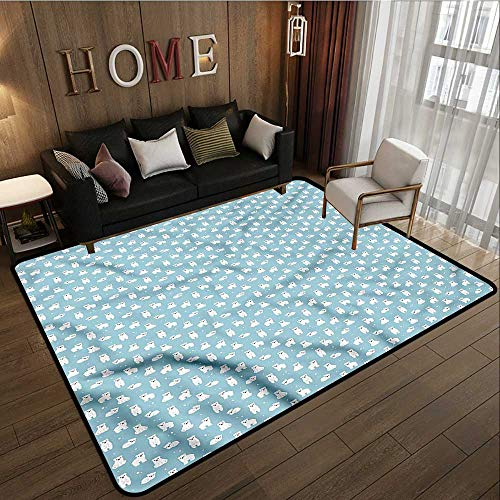 Classroom Rug Bear Cartoon Cute Arctic Anti-Slip Doormat Footpad Machine Washable 6'6