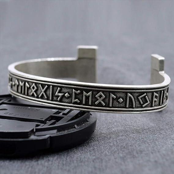 LEEFISH Viking Rune Norrois Bracelet Acier Inoxydable Lunavin Bracelet Argent Antique Traditionnel Design Celtique Bijoux Accessoires Hommes