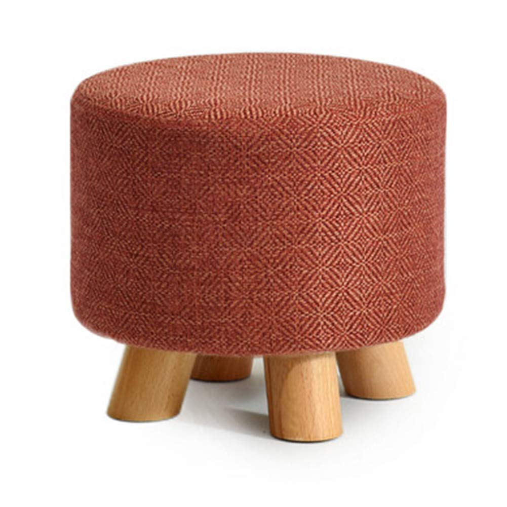 Round F Stool Coffee Table Stool Solid Wood Fabric Stool Footstool Stool Cover Removable Kitchen Bedroom Living Room,Square,D