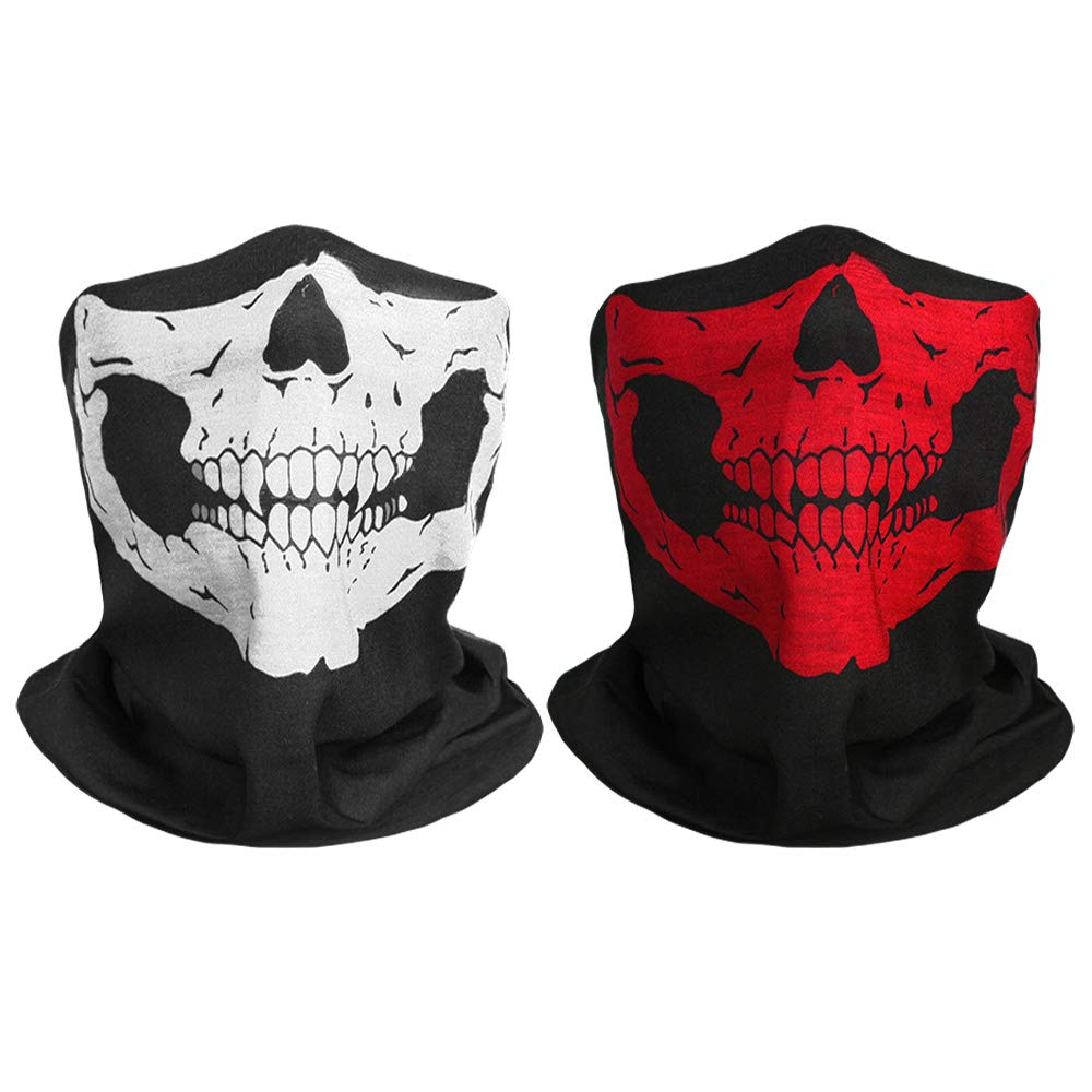 TUPARKA 2 Pieces Skull Face Mask Black Breathable Seamless Tube Skull Face Mask for Halloween Dance Party, Motorcycle Bike Ski Hiking Outdoor Sports 24cm/9.45inch x 47cm/18.5inch