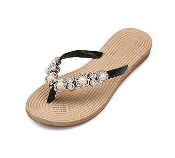 Zapatillas De Sandalias Mujer Perlas Meili Playa ChanclasAmazon Y RL35qA4j