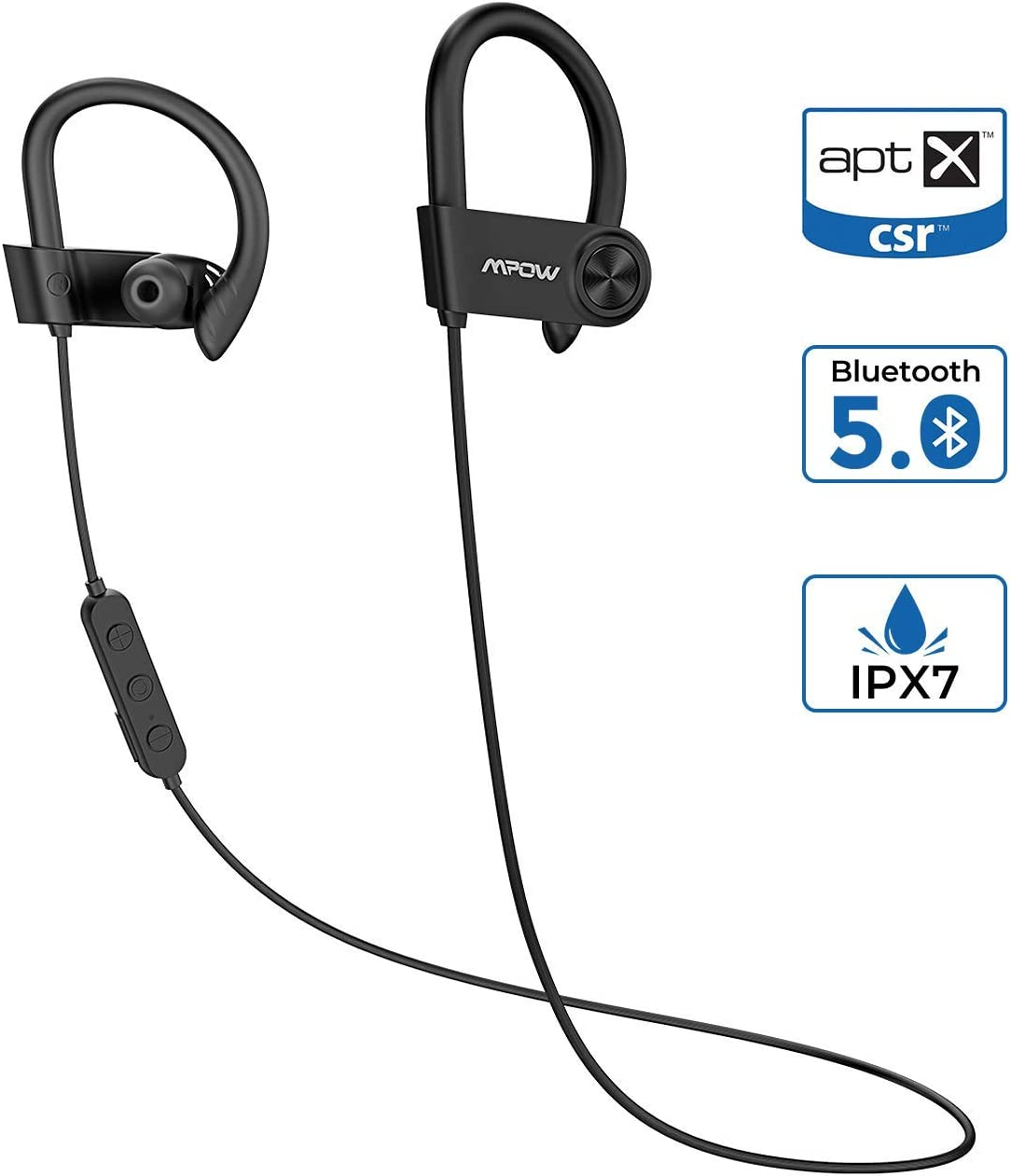 【Nueva versión】 Mpow D9 Auriculares Bluetooth 5.0 Bass +, 16-18 Horas de Juego, aptX IPX7 Deportivos Inalámbricos Running, Manos Libres Cancelación de Ruido CVC6.0 y Micrófono MEMS Incorporado