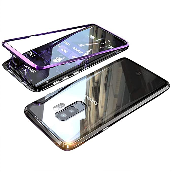 online store 6989f 7f1a6 Magnetic Adsorption Case for Samsung S9 Plus/S9+ Case Luxury Shockproof  Metal Bumper+Transparent Tempered Glass Front for Samsung Galaxy S9 Plus  Phone ...