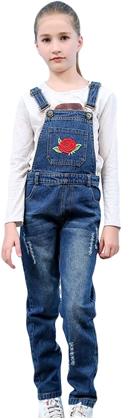 Tortor 1bacha Kid Girls Rose Flower Embroidered Distressed Denim Bib Overall