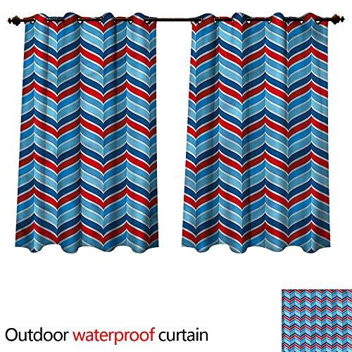 cobeDecor Chevron Outdoor Ultraviolet Protective Curtains 3D Style Blue Herringbone W55 x L45(140cm x 115cm)