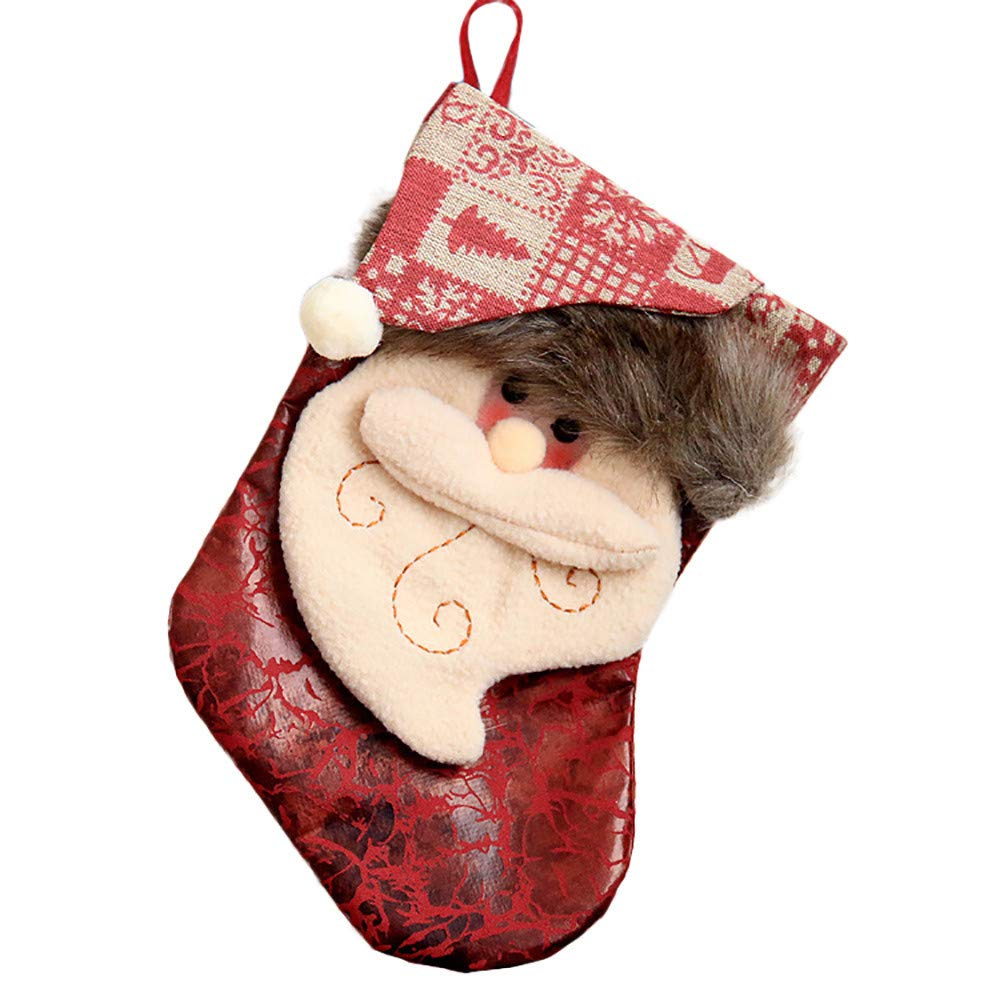 Lovewe Christmas Candy Bag,Merry Christmas Plush Tree Hanging Gift Candy Large Socks Decoration (A)