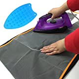 Image of 2-Pack Passionier Protective Ironing Scorch Saving Mesh Pressing Pad Cloth includes a Silicone Iron Rest Mat