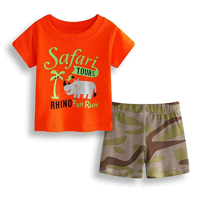 ceadff41e44d4 Hooyi Safari Tours Baby Boy Clothes Suit Rhino T-Shirt Camouflage ...