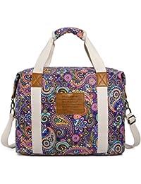 33a9497ee529 Ladies Women Canvas Travel Weekender Overnight Carry-on Shoulder Duffel Tote  Bag Bohemian Flower (
