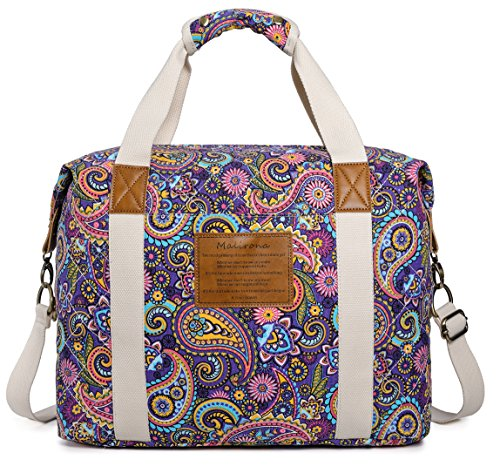 (Malirona Ladies Women Canvas Travel Weekender Overnight Carry-on Shoulder Duffel Tote Bag Bohemian Flower (Purple Flower))