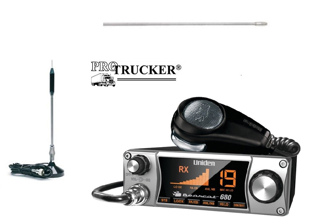 Pro Trucker CB Radio Kit Includes Bearcat 680, 24'' Center Loaded Copper Coil Stainless Steel CB Antenna & Pre-wired Super-Strong Magnetic Base
