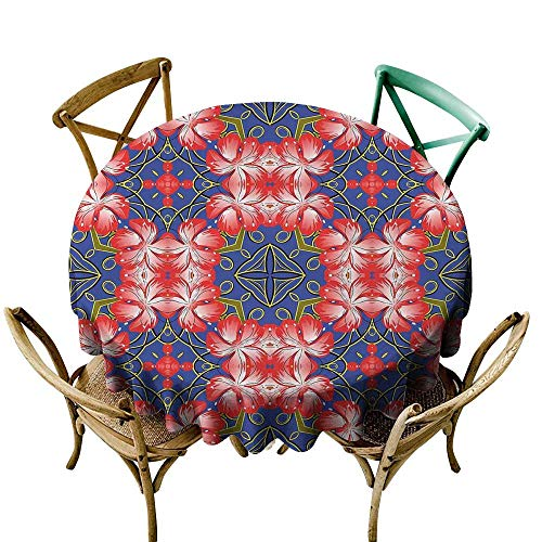 100% Polyester round tablecloth 36 inch Floral,Blooms Pattern on Diamond Shaped Bands Vibrant Flowers Glamour Beauty Print,Royal Blue Red Gold 100% Polyester Spillproof Tablecloths for Round Tables