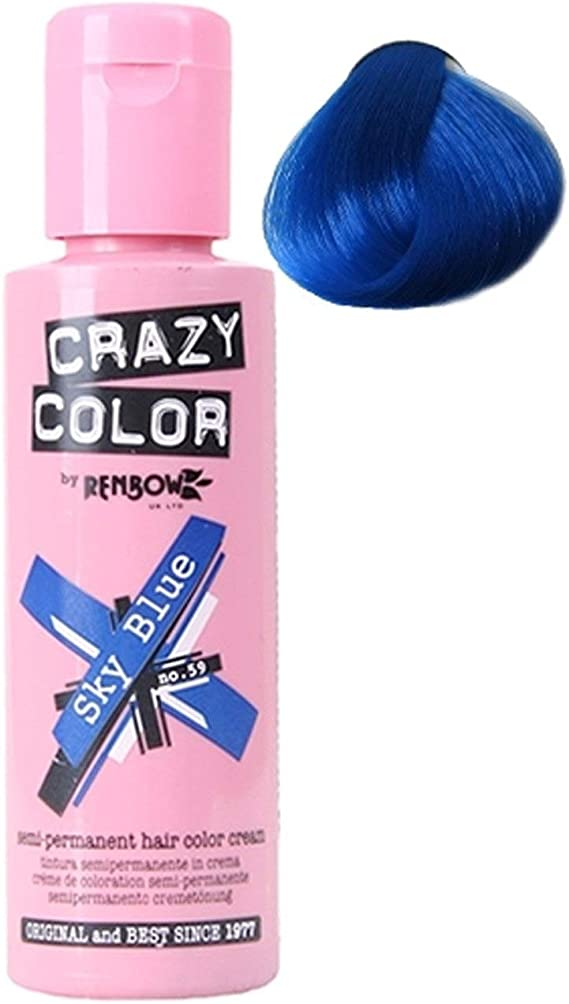 Crazy Colour Semi Permanent Hair Dye By Renbow Sky Blue No.59 (100ml) Box of 4