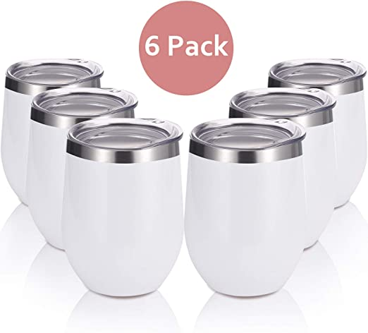 6 Pack 12Oz Stemless Wine Tumbler Wine Glasses Set Stainless Steel Cups with Lid Set of 6 for Picnic Camping Party or Family Daily Use Shatterproof BPA Free Healthy Choice