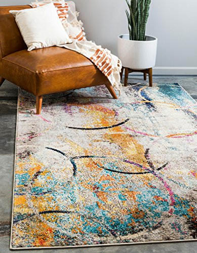 Unique Loom Chromatic Collection Rustic Modern Abstract Colorful Multi Area Rug (5' x 8')