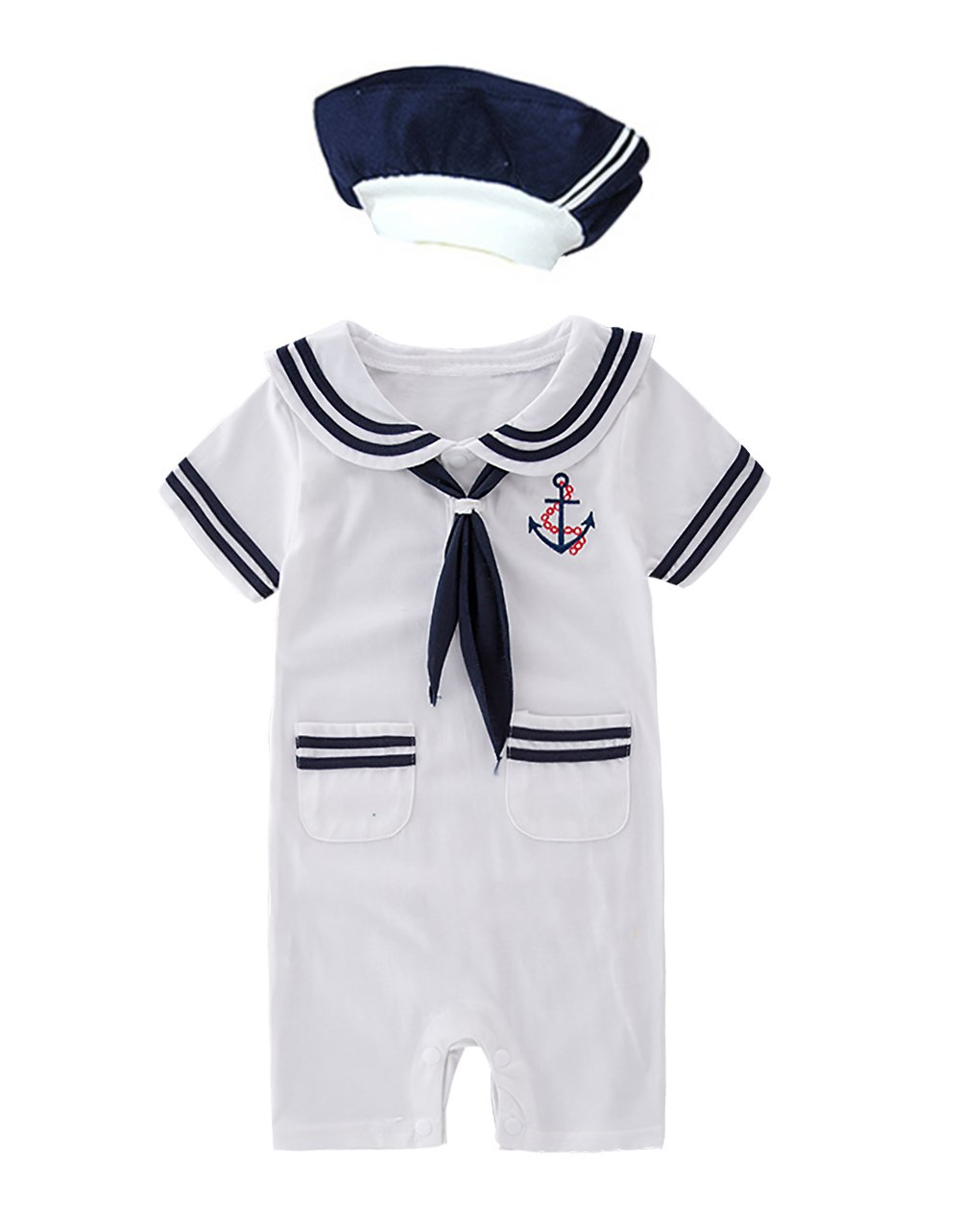 XM Nyan May's Baby Toddler Boys Sailor Stripe Romper Marine Navy Romper Onesie Outfit (6-12 Months, White B)