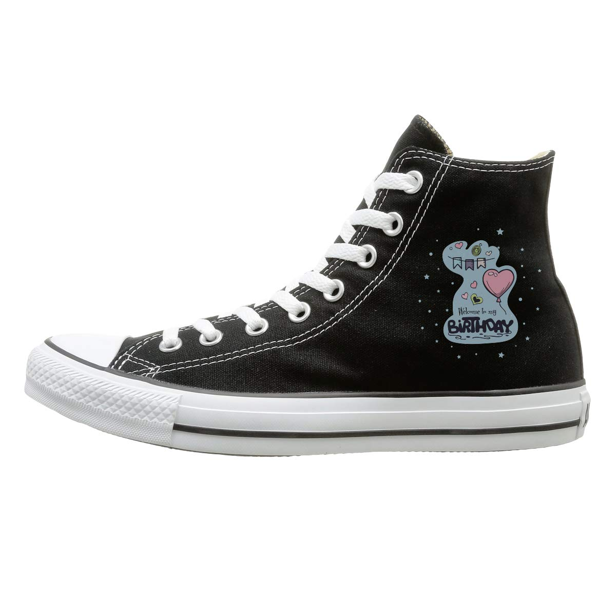 FOOOKL Woohoo You are 10 Happy 10th Birthday Canvas Shoes High Top Casual Black Sneakers Unisex Style
