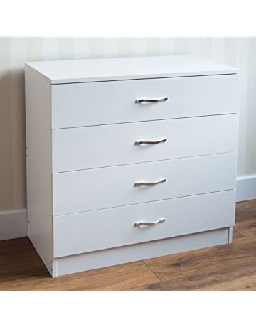 High Quality Home Discount White Chest Of Drawers, 4 Drawer With Metal Handles U0026  Runners, Unique