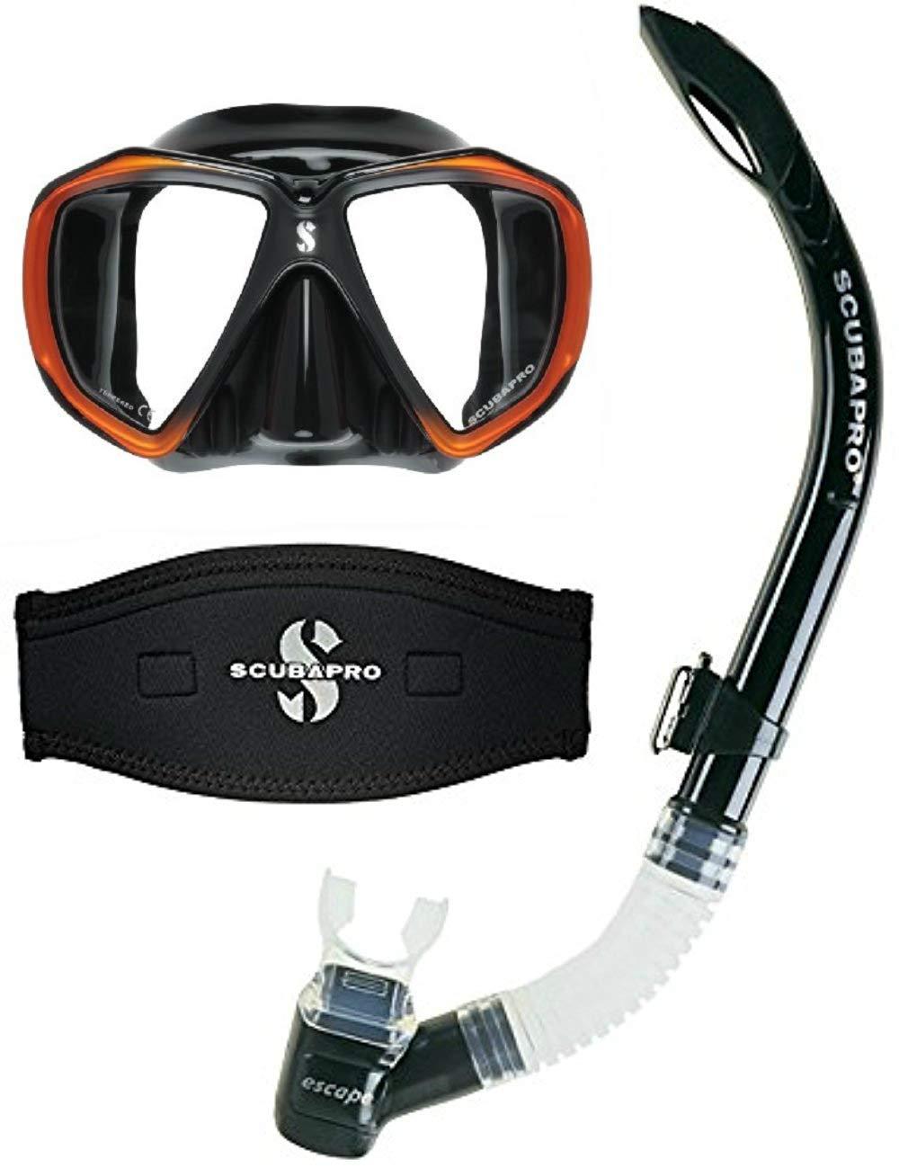 Scubapro Spectra Scuba Dive Mask Black/Bronze w/Neoprene Strap Cover & Escape Semi-Dry Snorkel