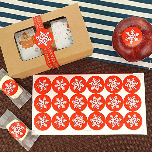 (Christmas Snowflakes 180 pcs 1.38 Inch Round Circle Kawaii Snowflakes Label Stickers Envelope Bag Seals Decorations Ornaments Party Supplies (Orange)