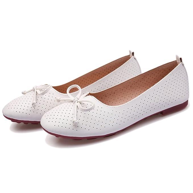 Planos Poco Profundos De La Mocasín De La Cabeza De Las Mujeres Arco Color Sólido Zapatos