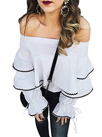 c8630895d404 Berrygo Women s Off Shoulder Layered Bell Sleeve Ruffle Cotton Blouse (White