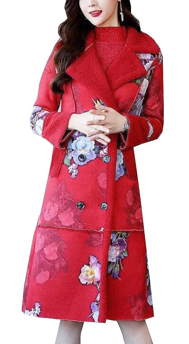 1 WSPLYSPJY Women's Winter Print Shearling Coat Faux Sheepskin Suede Outwear Jacket