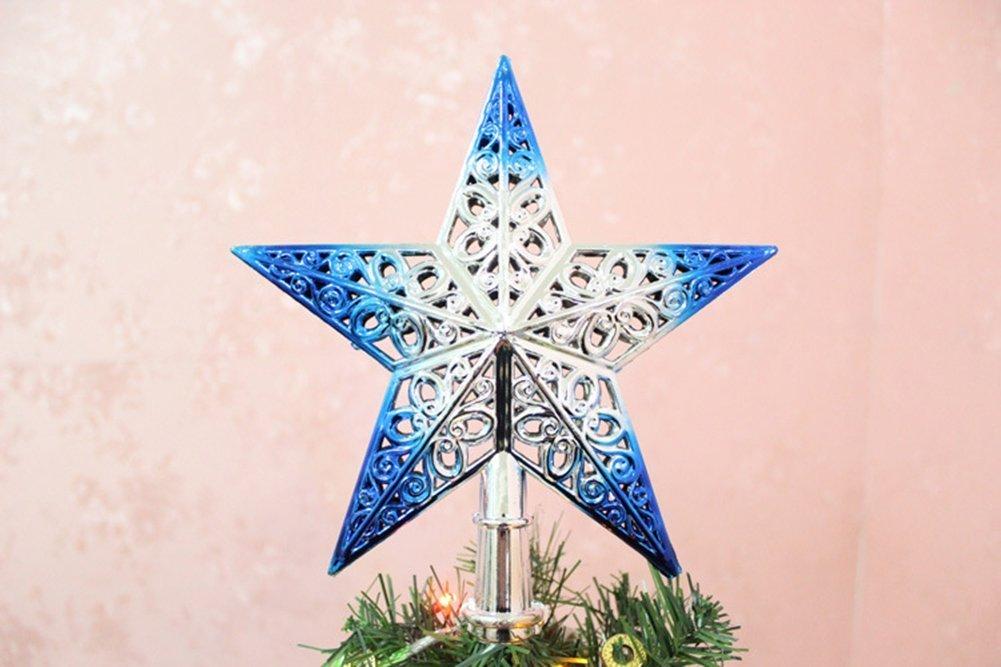 yo colgante de /árbol de Navidad con purpurina estrella /árbol de Navidad decoraci/ón adorno VI pl/ástico 20 cm azul