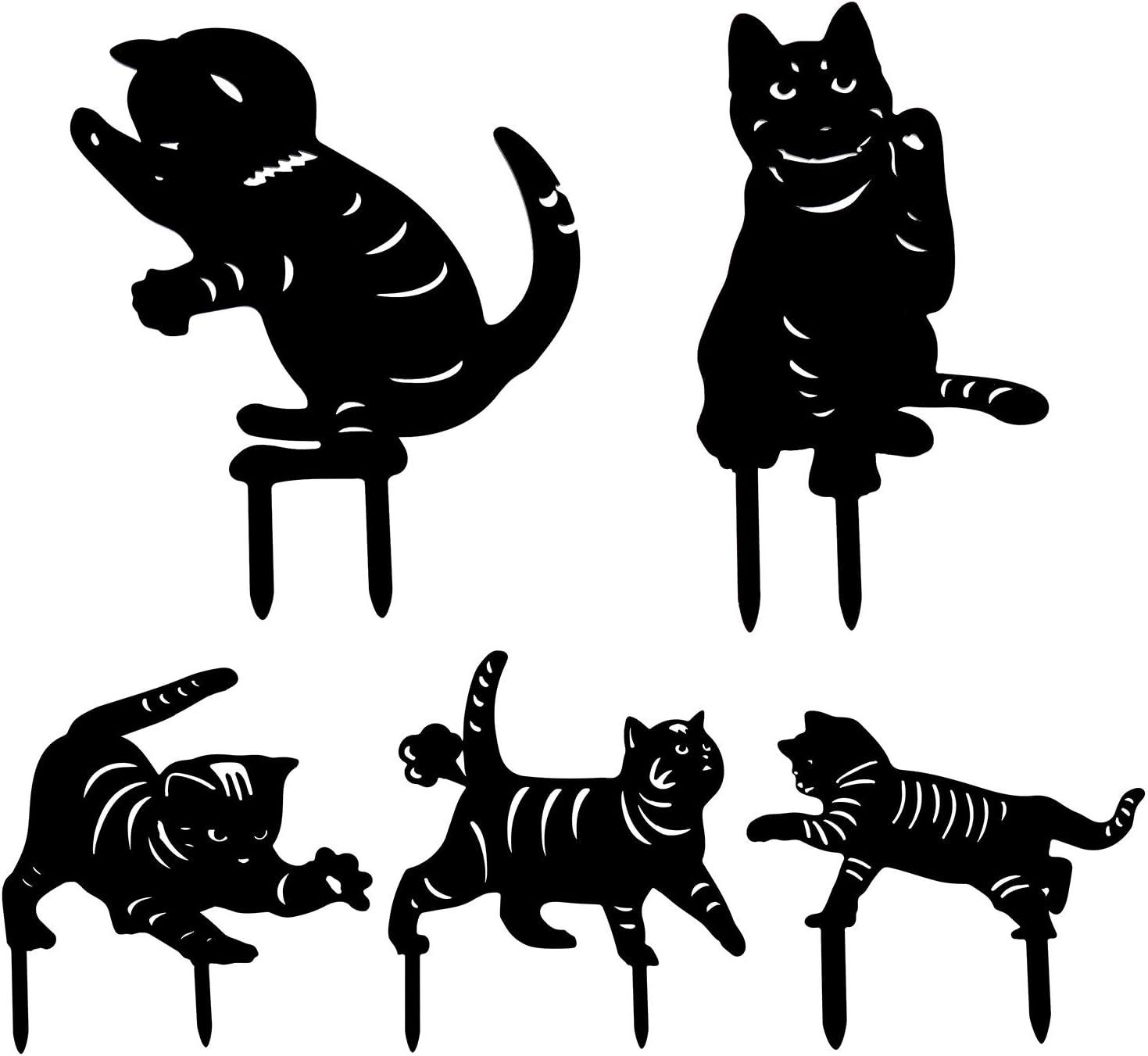 APVTI 5Pcs Cat Yard Art, Garden Lawn Floor Decoration, Acrylic Cat Art Outdoor Yard Decor (Set)