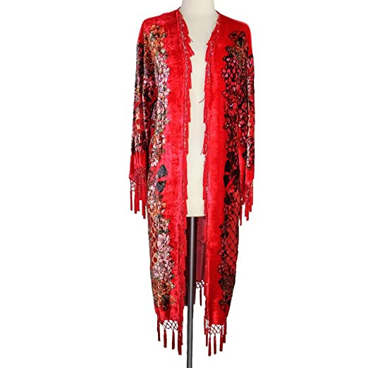 Shawls & Wraps | Vintage Lace & Fur Evening Scarves Aris A Hand-Beaded Silk Velvet Burnout Kimono $102.00 AT vintagedancer.com