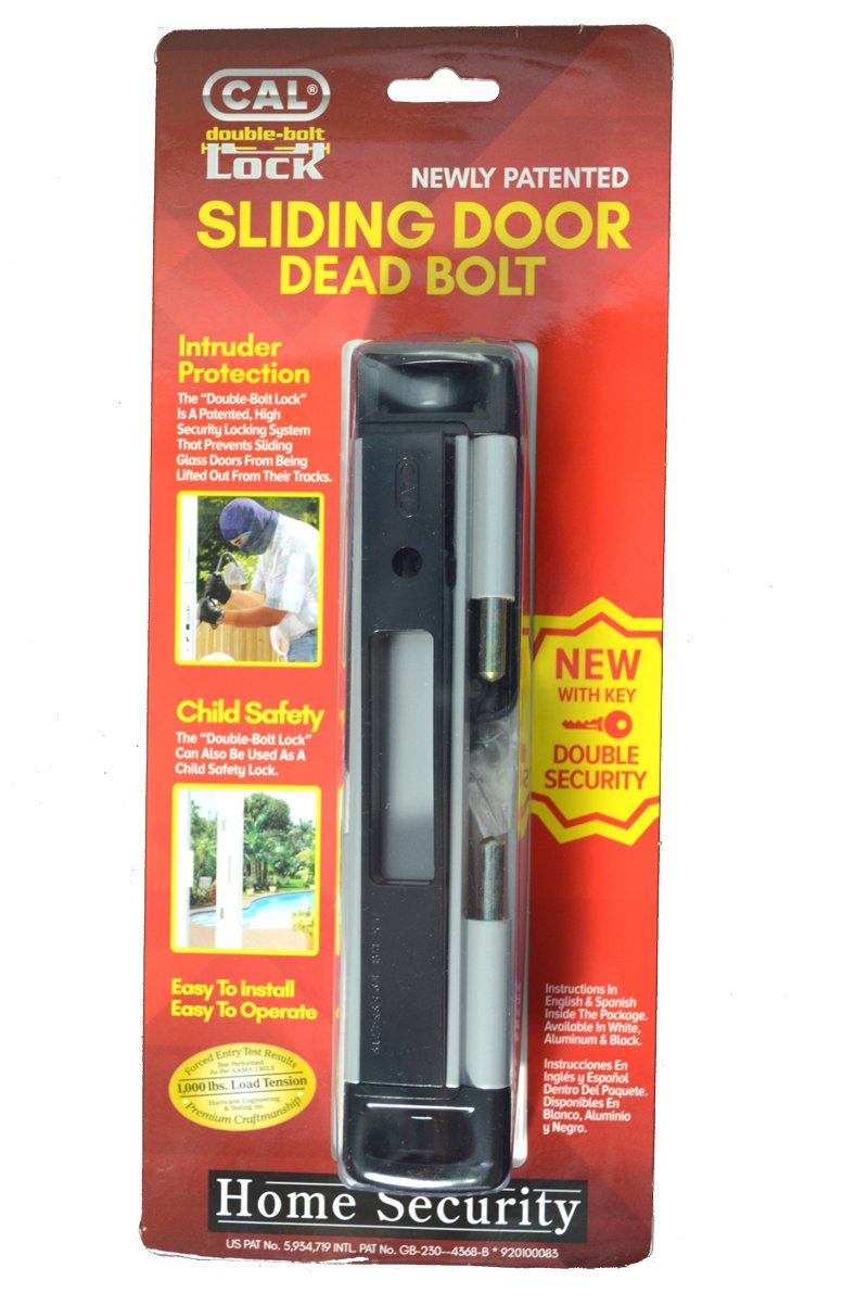 High Security Lock - Virtually Burglar Proof (Grey) Double Bolt Lock for Glass Sliding Doors - Advanced Technology to Keep Your Family Safe and Secure