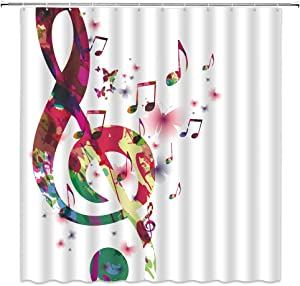 AMHNF Music Shower Curtain Abstract Muaical Note with Butterfly Flower Creative Colorful Print Fabric Bathroom Decor Curtain ,70x70 Inch with Hooks,White Red Pink