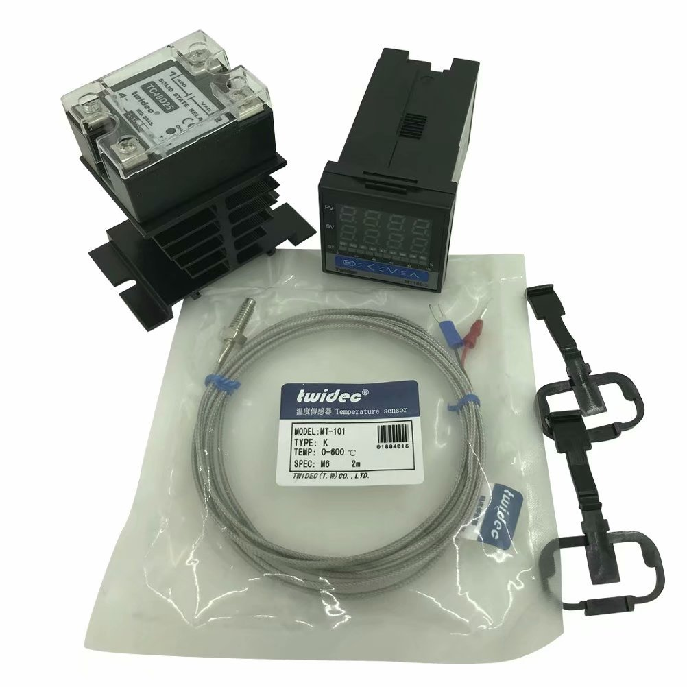 Twidec MT100-2 PID Temperature controller, 90-240VAC, 0-400 °C, Input: K, Output: SSR(DC12V);K screw probe, probe lead length 2M(78.74 inches);TC48D25 SSR 25A;Black heat sink