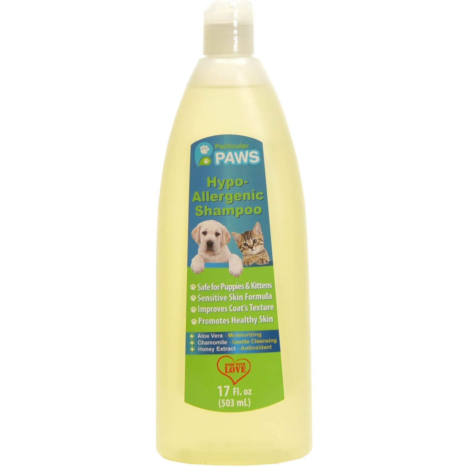Hypoallergenic Dog and Cat Shampoo - All Natural with Aloe Vera, Chamomile & Rosemary for Sensitive and Young Skin - 17 oz by Particular Paws