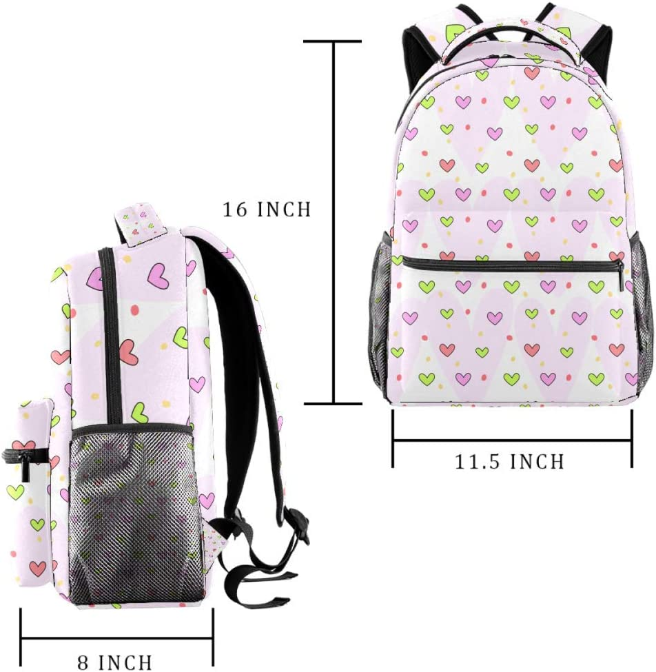 Cute Heart Pattern Background School Backpacks 16 Inch Student Bookbag Travel Basic Daypack Laptop Bag