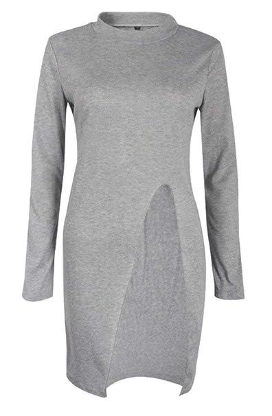Jersey Mujer Otoño Invierno Elegantes Moda Vestids De Jersey Abiertas Stand Cuello Manga Larga Clásico Slim Fit Casual Vestido De Punto Sweater Jerseys ...