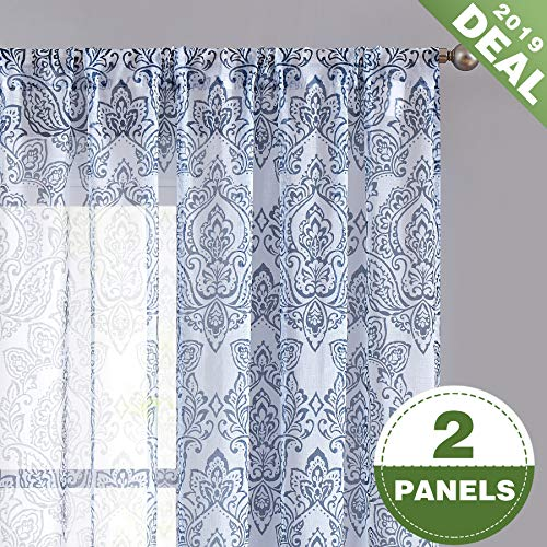 (ECODECOR Blue-Pattern Damask Print Sheer Curtain 63 inch for Bedroom Linen Look White Vintage Pattern Window Drapes for Living Room Rod Pocket 2 pcs)