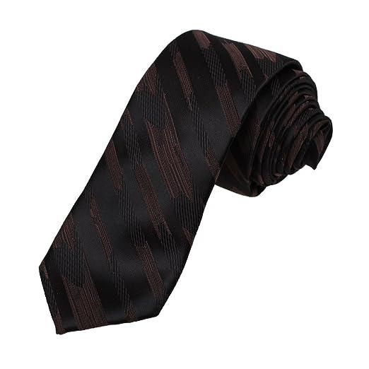 b1d96eee4126 Dan Smith DAE7A25E Black Brown Stripes Microfiber Skinny Tie Buy For  Working Narrow Tie