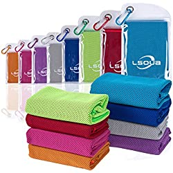 """Lsoua Super Absorbent Cooling Towel for Instant Relief - 40""""12"""" - for Sports, Workout, Fitness, Gym, Yoga, Pilates, Travel, Camping & More (Orange, 40""""x12"""")"""